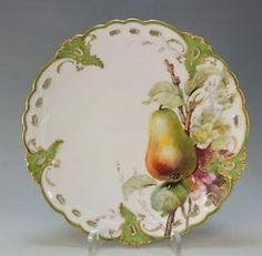 NYMPHENBURG-6-bedeutende-Jugendstil-Teller-Durchbruch-Obstmalerei-um-1880-TOP