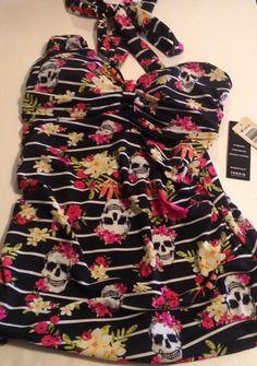 4e899bfa9a2 torrid tropical skull bathing suit Tankini top size 0