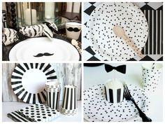 Louças estampadas para a festa preto e branco - Fotos: Pinterest