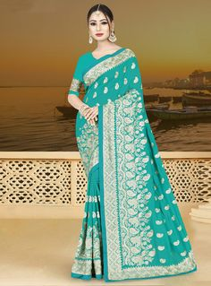 af8365188a2f3 Buy Cyan Silk Saree With Blouse 146796 with blouse online at lowest price  from vast collection