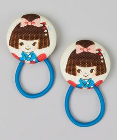Take a look at this Blue Brown-Haired Girl Hair Tie Set by Baby Raindrops on #zulily today!8