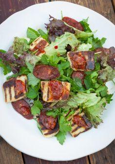 Herb salad with halloumi and chorizo recipe