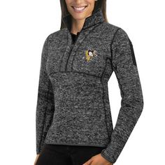 Women's Pittsburgh Penguins Antigua Charcoal Fortune 1/2-Zip Pullover Sweater