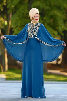 2018 Yeni Sezon Abiye Koleksiyonu - Neva Style - Payet Detaylı Petrol Mavisi Tesettür Abiye Elbise 25620PM