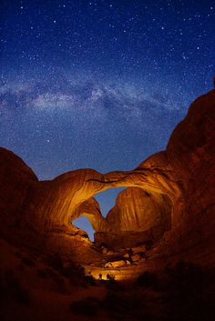 I've been to Arches National Park for a short stop on a road trip, but I'd love to really explore this place. This is a photo of Double Arch and Milky Way stars at Arches National Park in Utah. Places To Travel, Places To See, Travel Destinations, Travel Things, Travel Stuff, Photos Voyages, Parc National, All Nature, Amazing Nature