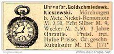 Original-Werbung/ Anzeige 1899 - UHREN-FABRIK KLESZWESKI / MÖRCHINGEN BEI METZ - ca. 45 X 20 mm