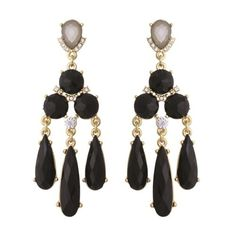 Black Color Faceted Acrylic Stone Long Drop Chandelier Post Earrings #Unbranded…