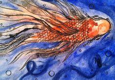 Pen and Ink Watercolor Paintings | fish+goldfish+orange+5x7+watercolor+pen+and+ink.jpg