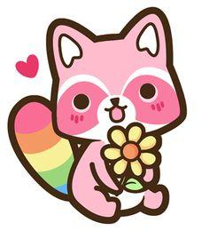 kawaii rainbow raccoon!