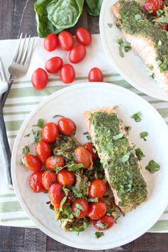Pesto Baked Salmon and Zucchini Noodle Foil Dinner from Whitney Bond [featured in the #DeliciouslyHealthyLowCarb Recipes Round-Up from September 2015.]