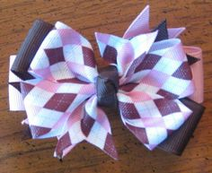 Pink and Brown Argyle 3 inch Pinwheel Style Hairbow by EmzBowz, $4.00