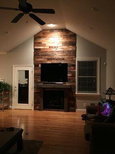 Reclaimed barnwood fireplace