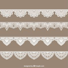 Hand drawn lace border collection Free Vector