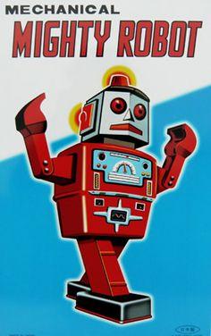 Posters plaque en métal Robot vintage - Bianca and Family