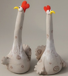 Two delightful small stoneware Chickens, by Ana Bossa of Murtiga on Etsy