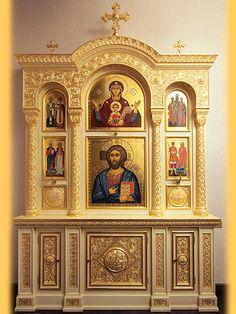 Altar Design, Church Design, Dremel, Luxury Furniture Stores, Furniture Near Me, Home Altar, Byzantine Icons, Prayer Room, Mediterranean Homes