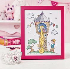 Pretty in pink. Recreate the universally adored fairy tale Rapunzel for a little one's bedroom with this magical design  Designed by Lucie Heaton for Cross Stitch Crazy 200.