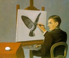 Rene Magritte - Selfportrait 1936 De schilder kijkt naar een ei en schildert op het doek een vogel. Is het bedrog? De kunstenaar schepper van illusies, onwaarheden. Als leugen van onwaarheden of als verbeelding wat er zou kunnen?