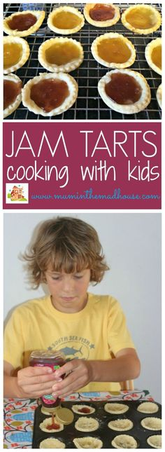 Jam tarts are such a simple recipe and perfect for cooking with kids.  Jam tarts are great for getting children in the kitchen cooking.  Here we made sunshine jam tarts with seedless jam