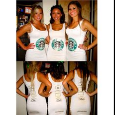 Hilarious group costume ideas for Halloween: Starbucks but instead make tshirts, leggings and uggs Starbucks Halloween Costume, Best Diy Halloween Costumes, Cute Costumes, Costume Ideas, Halloween Clothes, Halloween Ideas, Group Of 3 Costumes, Costumes For 3 People, Halloween Costumes For Teens Girls