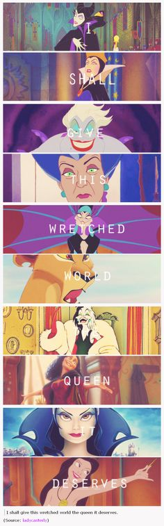 Disney Queen villains … Even though the last one and the third one are TECHNICALLY the same person...