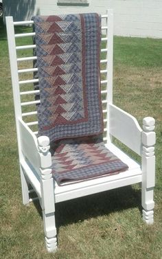 Quilt Display Chair Built from repurposed crib (the chair back) and headboard (the chair arms) Find us on Facebook @ Treasurebugs