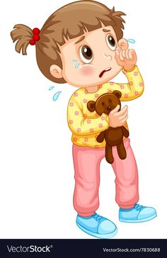Little girl crying with tears Royalty Free Vector Image , Illustration Noel, Family Illustration, Cartoon Kids, Girl Cartoon, Emotions Cards, Love Cartoon Couple, Flashcards For Kids, Book Background, Sad Pictures