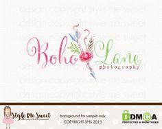 Boho Chic Logo flecha Logo flor insignia por stylemesweetdesign