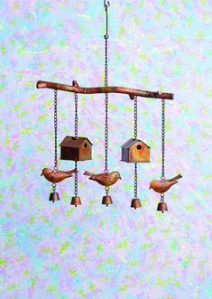 Flamed Bird House and Birds Wind Chime