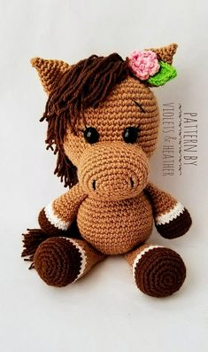 Pretty Crochet Horse Crochet pattern by Heather KumpfCrochet horse doll with halterThis pattern is in English and uses US crochet terminology.Horse & Unicorn Crochet Patterns – Amigurumi - A More Crafty LifeThis is an original pattern (in English u Poney Crochet, Crochet Pony, Crochet Horse, Crochet Amigurumi, Cute Crochet, Amigurumi Doll, Crochet Animals, Crochet Dolls, Crochet Patterns Amigurumi