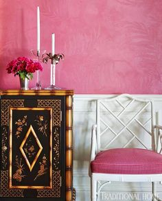 Chippendale chair and candy pink walls make such a statement of this asian inspired sideboard.