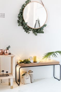 How to Make an Entrance in your own Home Create a warm and welcoming entrance for your home with these tips! Click through to make this DIY eucalyptus framed mirror. Home Decor Ideas, Diy Home Decor On A Budget, Bedroom Decor, Wall Decor, My New Room, Interior Inspiration, Furniture Inspiration, Living Room Designs, House Design