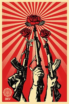 Shepard Fairey (Obey) is part of Obey art Guns and Roses, 2007 Screenprint 55 x 42 cm - Protest Kunst, Protest Art, Graffiti, Art Pop, Art Obey, Shepard Fairey Obey, Urbane Kunst, Propaganda Art, Communist Propaganda