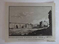 Dunstaffage Castle, Isle of Mull, Scotland, 1786 Copper Engraving Print Antique Prints, Vintage Prints, Retro Vintage, Irish Traditions, Antique Copper, Travel Posters, Art For Sale, Art Decor, Scotland