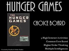 9 activities that provide a fun culmination to your Hunger Games unit. Students can choose from a variety of activities to create their own final project. Use as classwork, homework, or even in literacy centers. Activities promote higher order thinking, are connected to Common Core standards, and are engaging by tapping into the Multiple Intelligences.Check out more AWESOME CHOICE BOARDS for Upper Elementary and Middle School novels in my store!