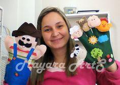 Kit de Luvas Seu Lobato Felt Puppets, Shadow Puppets, Hand Puppets, Finger Puppets, Baby Musical Instruments, Animal Fashion, Felt Art, Stuffed Toys Patterns, Handmade Toys