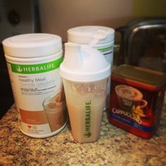 Cappuccino Shake for breakfast! 8oz water, 2 scoops Café Latte F1, 1 scoop PDM, 1tsp vanilla cappuccino, 1 cup ice. Fast, easy, YUMMY! #Herbalife www.goherbalife.com/sgrenwelge to see more products and recipes!