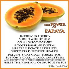 The Power of Papaya:      Such a delicious and amazing fruit, papaya can decrease your chance of getting cataracts, help you to lose weight, and build up your immune system, for starters. It's delicious in a salad, with yogurt, in a smoothie, or all by itself. If you are not sure, use my rule of thumb, buy 2, give them a solid try in a couple ways, then see how much you like it!