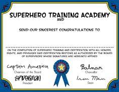 Superhero training certificate
