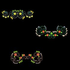 CURLY FLOWER BORDERS 6inch  10 Machine Embroidery Designs