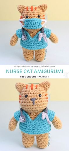 Heartwarming And Thoughtful Crochet Gifts For Frontline Heroes. Its going to make such a thoughtful gift for any healthc Chat Crochet, Crochet Gratis, Crochet Bear, Free Crochet, Cat Amigurumi, Crochet Patterns Amigurumi, Crochet Dolls, Crochet Animal Patterns, Stuffed Animal Patterns
