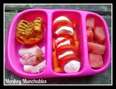 Filling lunch featuring: Pretzel Thins, Rolled Turkey Lunch Meat, Baby Carrots, Tomato Slices, Mozzarella Slices, and Watermelon Chunks. #monkeymunchables #goodbyn #nonsandwich #kidslunch