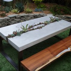 Concrete table with plants