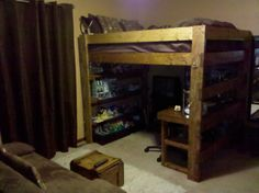 Great use of space for a teen's room!  Underneath a full bed: BIG desk area, lots of shelves at the other end (in this case to display Legos), and room for a TV.