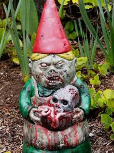 Just in case the plague makes a comeback, protect your home and family with a zombie garden gnome from DougFX.