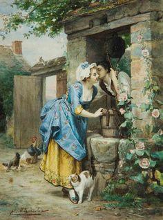 """♥ La Rencontre"""" → Emile Pierre Metzmacher - 1815/1890 - Pintor Francês."""
