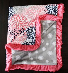 minky blanket, baby girl blanket, baby gift, floral, coral and navy minky, Custom minky blanket, coral blanket, baby girl blanket, dandelion by HeartstringThings on Etsy https://www.etsy.com/listing/245708238/minky-blanket-baby-girl-blanket-baby