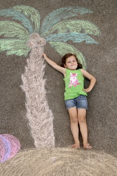 Creative Photos Of Kids As Part Of Chalk Art - On an Island :)