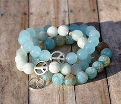 Silver Peace Charm Stackable Amazonite Bracelets / Boutique Beaded Bracelets