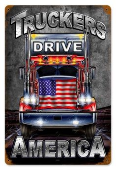 Vintage and Retro Wall Decor - JackandFriends.com - Vintage Truckers Drive Metal Sign 2, $39.97 (http://www.jackandfriends.com/vintage-truckers-drive-metal-sign-2/)